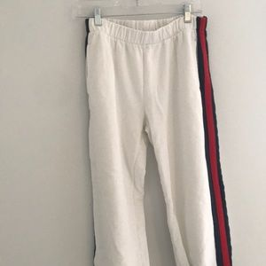 Brandy Melville red and navy striped sweatpants